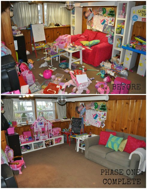 playroom remodel collage