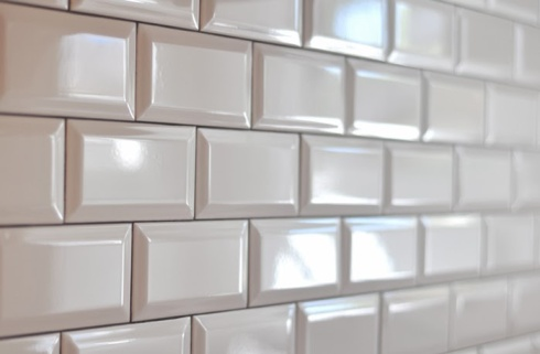 white beveled tile