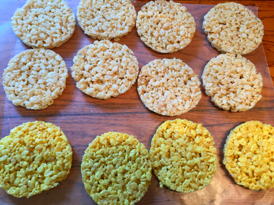 Sue at Home Emoji rice krispie treats 2 colors