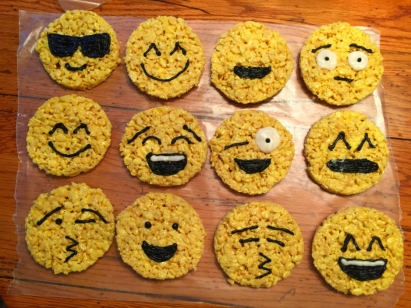 Sue at Home Emoji Rice Krispie Treats black piping