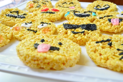 Sue at Home emoji rice krispie treats close up