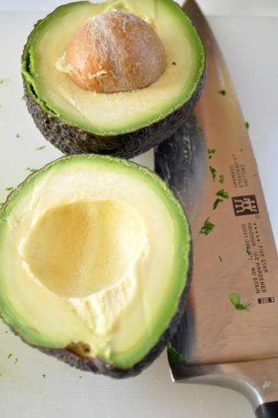 Sue at Home Guacamole avocado and knife