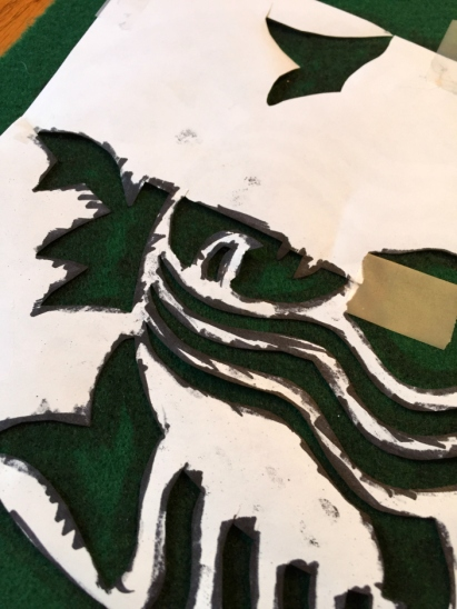 Sue at Home Starbucks Latte Costume tracing logo felt