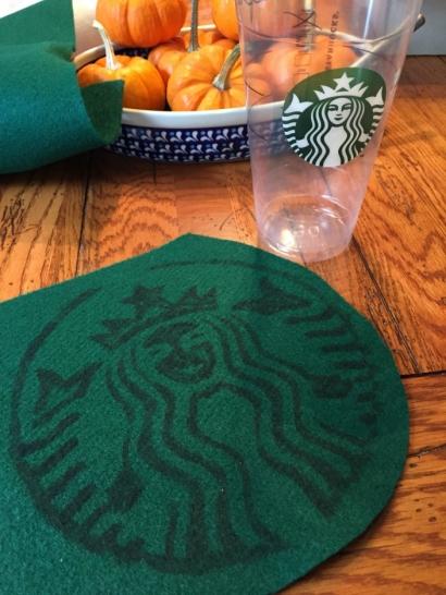 Sue at Home Starbucks Latte Costume tracing logo