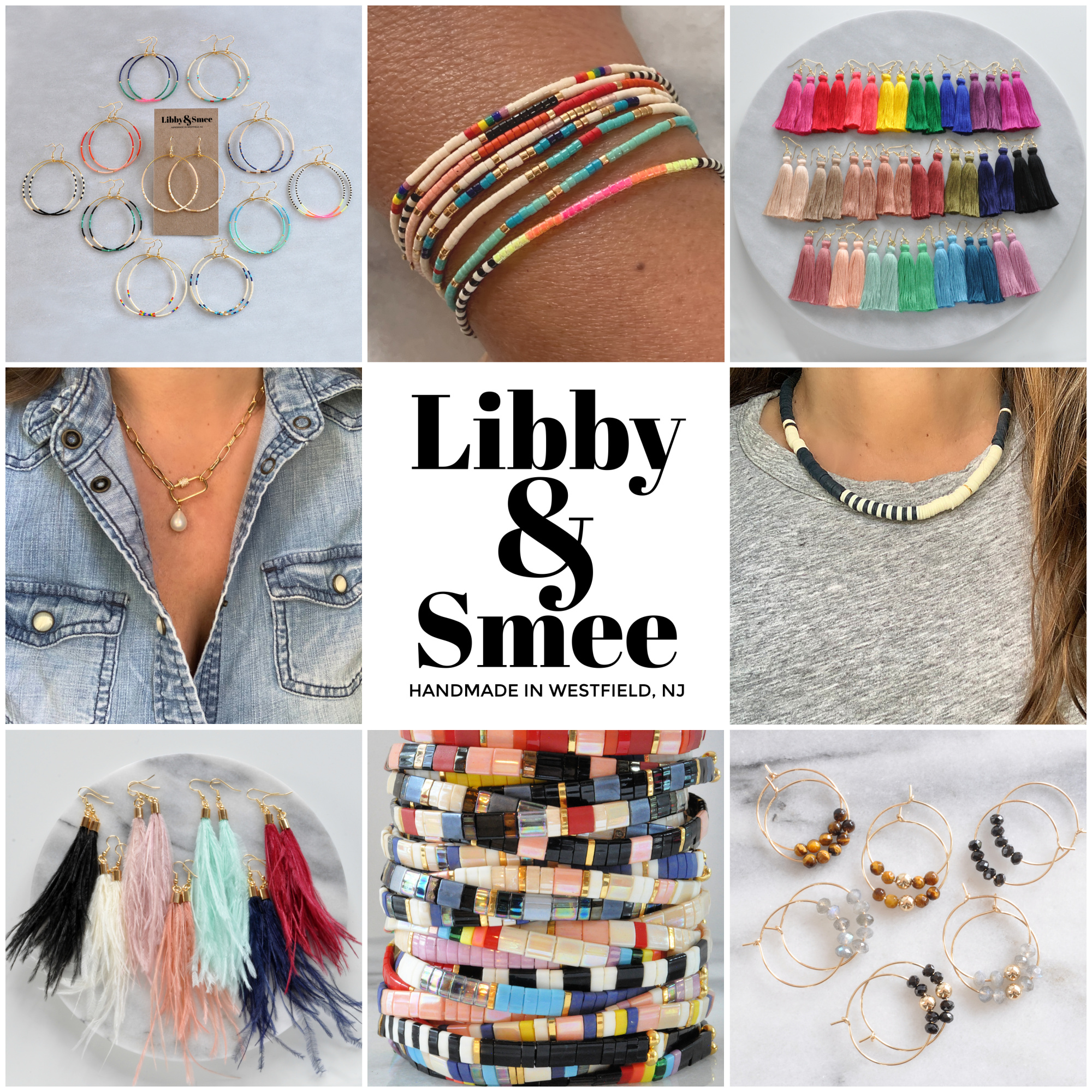 Libby & Smee brand collage featuring colorful handmade jewelry